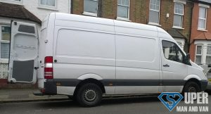 Parked van with open doors